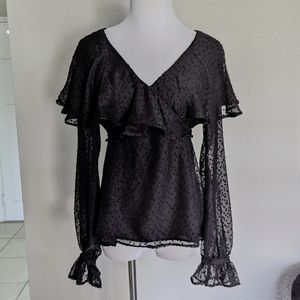 NWT TOPSHOP Dobby all-over frill sheer blouse